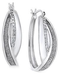 Macy's - Metallic Diamond Glitter Hoop Earrings (1/4 Ct. T.w.) In Sterling Silver - Lyst