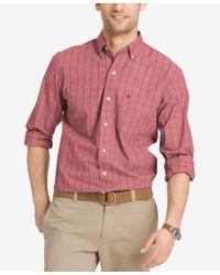 Izod   Red Men's Windowpane Check Long-sleeve Shirt for Men   Lyst