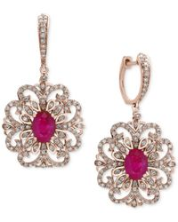 Effy Collection   Multicolor Certified Ruby (1-9/10 Ct. T.w.) And Diamond (3/4 Ct. T.w.) Filigree Drop Earrings In 14k Rose Gold   Lyst