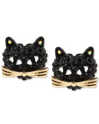 Betsey Johnson | Two-tone Pavé Black Crystal Cat Stud Earrings | Lyst