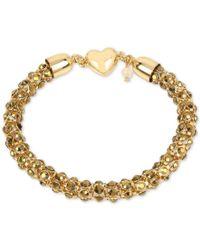 Betsey Johnson - Metallic Gold-tone Beaded Heart Magnetic Chain Bracelet - Lyst