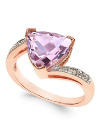 Macy's | Pink Amethyst (3 Ct. T.w.) And Diamond Accent Statement Ring In 14k Rose Gold | Lyst