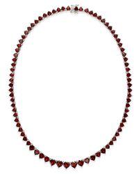 Macy's | Metallic Rhodolite Garnet Hearts All-around Collar Necklace (45 Ct. T.w.) In Sterling Silver | Lyst