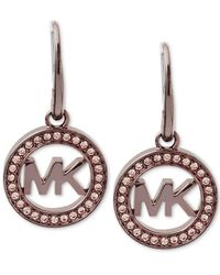 Michael Kors | Yellow Ion-plated Pave Logo Drop Earrings | Lyst