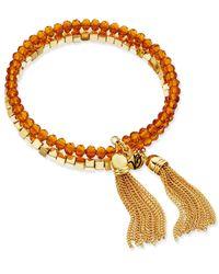 Vera Bradley   Metallic Gold-tone Tassel Beaded Coil Bracelet   Lyst