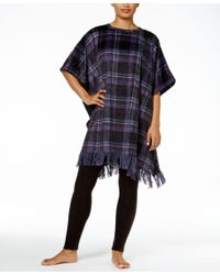 DKNY   Black Plaid Fleece Lounge Poncho   Lyst