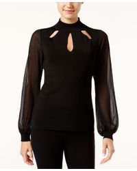 INC International Concepts | Black Petite Illusion-sleeve Cutout Top, Only At Macy's | Lyst