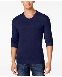 Alfani | Blue Men's V-neck Heathered Long-sleeve Sweater, Regular Fit, Only At Macy's for Men | Lyst