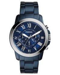 Fossil | Men's Chronograph Nate Blue Ion-plated Stainless Steel Bracelet Watch 44mm Fs5230 for Men | Lyst