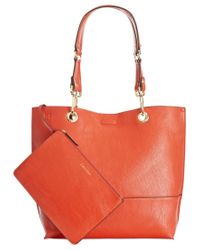 Calvin Klein - Orange Reversible Tote With Pouch - Lyst