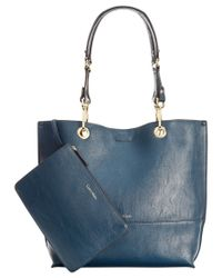 Calvin Klein | Blue Reversible Tote With Pouch | Lyst