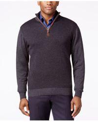 Tricots St Raphael | Multicolor Quarter-zip Faux-suede Trim Herringbone Sweater for Men | Lyst