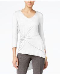 Cable & Gauge   White Faux-wrap Asymmetrical-hem Top   Lyst