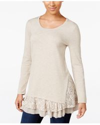 Style & Co. | Multicolor Lace-inset Layered-look Sweater, Only At Macy's | Lyst