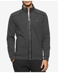 Calvin Klein | Gray Men's Full-zip Mixed-media Jacket, A Macy's Exclusive Style for Men | Lyst