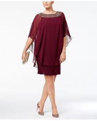 ba9505de88a Xscape Plus Size Beaded Chiffon Capelet Dress in Red - Lyst