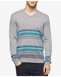 Calvin Klein | Gray Men's Merino Striped V-neck Sweater for Men | Lyst