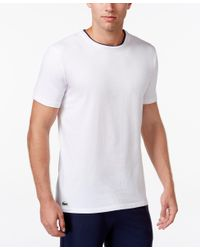 Lacoste - White Stretch Cotton Crewneck Lounge Tee for Men - Lyst