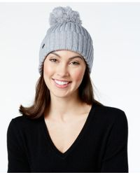 Calvin Klein | Gray Pom Pom Beanie | Lyst