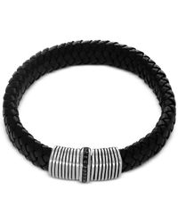 Effy Collection | Effy Men's Black Sapphire (1/3 Ct. T.w.) Black Leather Woven Bracelet In Sterling Silver for Men | Lyst