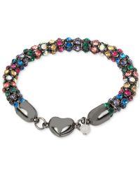 Betsey Johnson - Metallic Hematite-tone Multi-crystal Heart Bracelet - Lyst