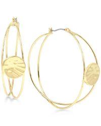 Robert Lee Morris   Metallic Gold-tone Hammered Disc Multi-dimensional Hoop Earrings   Lyst