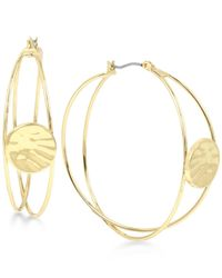 Robert Lee Morris | Metallic Gold-tone Hammered Disc Multi-dimensional Hoop Earrings | Lyst