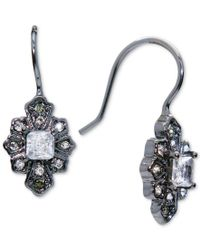 Lauren by Ralph Lauren | White Hematite-tone Framed Crystal Drop Earrings | Lyst
