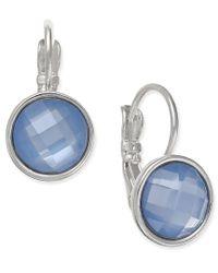 Nine West - Silver-tone Faceted Blue Stone Drop Earrings - Lyst