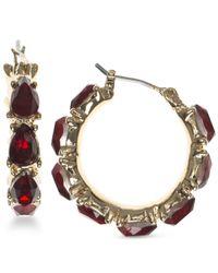 Nine West   Red Faceted Stone Hoop Earrings   Lyst
