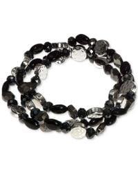 Nine West | Black Silver-tone Multi-bead Three Row Stretch Bracelet | Lyst