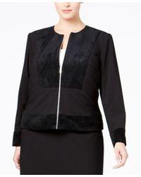 Calvin Klein | Black Plus Size Faux-suede Mixed-media Jacket | Lyst