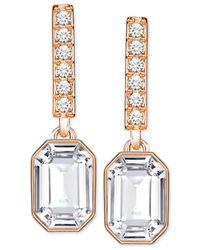 Swarovski - Metallic Rose Gold-tone Octagon Crystal Drop Earrings - Lyst