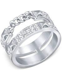 Swarovski - Metallic Double-row Pave Statement Ring - Lyst