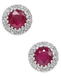 Macy's | Multicolor Ruby (5/8 Ct. T.w.) And Diamond (1/10 Ct. T.w.) Stud Earrings In 14k White Gold | Lyst