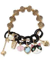 Betsey Johnson - White Two-tone Black Cat Beaded Charm Bracelet - Lyst