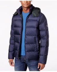 Michael Kors | Blue Men's Quilted Hooded Coat for Men | Lyst