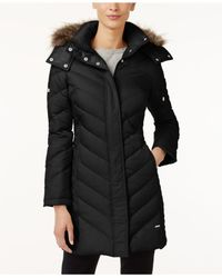 Kenneth Cole | Black Petite Faux-fur-trim Chevron Puffer Coat | Lyst