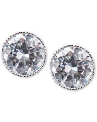 Lauren by Ralph Lauren | Metallic Silver-tone Crystal Bezel Stud Earrings | Lyst