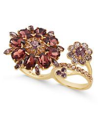 kate spade new york - Metallic Gold-tone Floral Crystal Two-finger Ring - Lyst