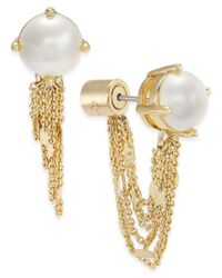 Kate Spade | Metallic Gold-tone Imitation Pearl Stud Earring Jackets | Lyst
