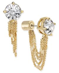 Kate Spade | Metallic Gold-tone Crystal Stud And Chain Earring Jackets | Lyst