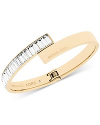 Michael Kors | Metallic Gold-tone Crystal Baguette Hinged Bangle Bracelet | Lyst