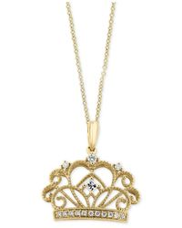 Effy Collection | Metallic Diamond Crown Pendant Necklace (1/8 Ct. T.w.) In 14k Gold | Lyst