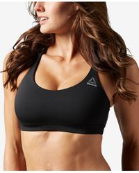 Reebok | Black Workout Ready Light-impact Tri-back Sports Bra | Lyst