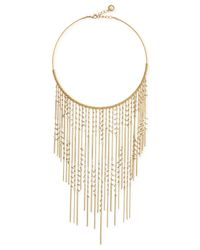 BCBGeneration | Metallic Gold-tone Imitation Pearl Fringe Statement Necklace | Lyst
