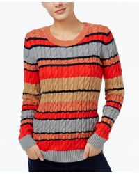 Tommy Hilfiger | Red Cecelia Striped Cable-knit Sweater, Only At Macy's | Lyst