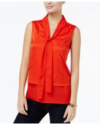 Tommy Hilfiger | Tiered Bow-tie Blouse, Only At Macy's | Lyst