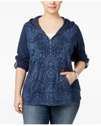 Style & Co. | Blue . Printed Zip-neck Hoodie, Only At Macy's | Lyst