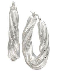 Macy's   Metallic Fluted Oval Hoop Earrings In Sterling Silver   Lyst
